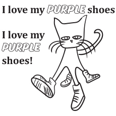 Pete the Cat Loves Purple Coloring to Print