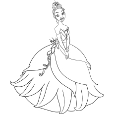 Princess Tiana Coloring Page for Kids