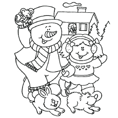 snowman having fun coloring pages - Snowman Printable Coloring Pages