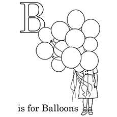 B For Balloons Coloring Pages