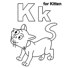the k for kitten - Kitten Coloring Page