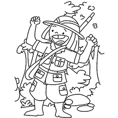the a happy hunter - Hunting Coloring Pages
