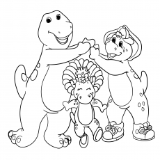 the barney bj and baby bop - Barney Coloring Pages