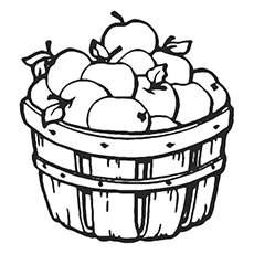 free basket of apples coloring page to print - Apples Coloring Pages