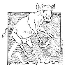 Cow Jumping High Mooing Coloring Page