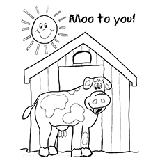 Cow Mooing Coloring Sheet