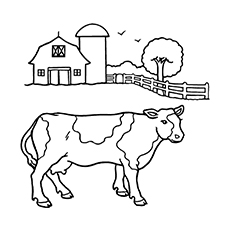 coloring sheet of cow with barn in the background - Cow Coloring Page