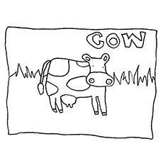 cow with spelling coloring pages