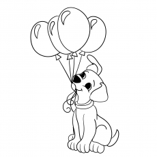 The Cute Puppy With Balloons