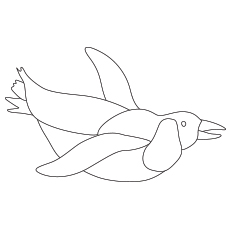 Cute Penguin Swimming Coloring Pages