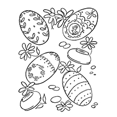 easter egg with flowers easter egg in diamond shape coloring page