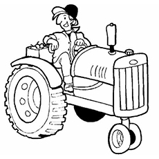 The Funny Farmer On Tractor Color