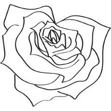 The Heart Shaped Rose coloring page