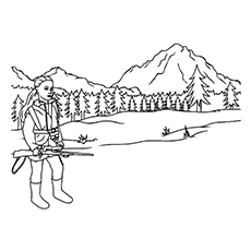 the hunting in the woods - Hunting Coloring Pages