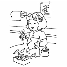 coloring pages of girl making crafts for school activities - School Coloring Sheets