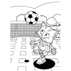 Kitty Playing Soccer Coloring Page