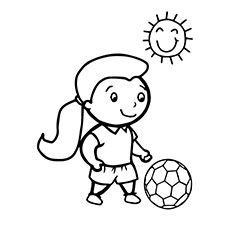 Little Girl Playing With the Ball in Sun Coloring Pages
