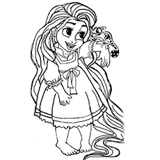 Coloring Pages of Little Rapunzel
