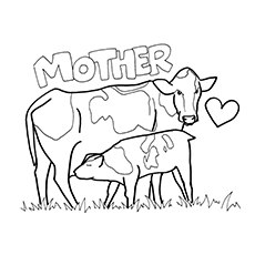 coloring page of mother cow and calf to print