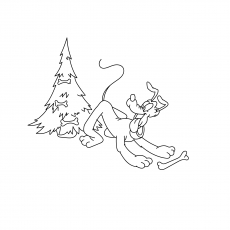 The Pluto And Christmas Vone Tree Duck Gift Disney Coloring Images