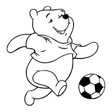 Pooh Playing with the Soccer Ball on Run by Coloring Pages