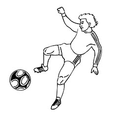 Player Is Ready to Kick the Soccer Ball In to Goal Coloring Pages