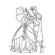 The Princess And Prince Holding Hands Coloring Page