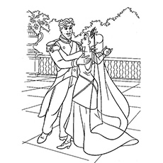 Princess Tiana and Prince Naveen Dancing Coloring Pages