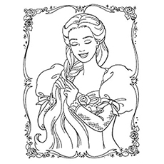 printable rapunzel braiding her hair coloring page