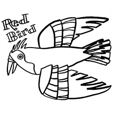 the red bird - Eric Carle Coloring Pages