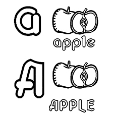 Small And Capital A for Apple to Color