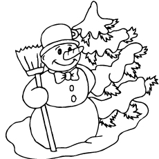 snowman with carrot nose coloring pages - Snowman Printable Coloring Pages