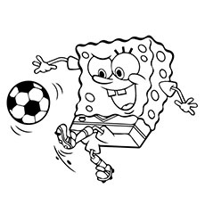 Sponge Bob Playing with The Soccer Ball Coloring Pages