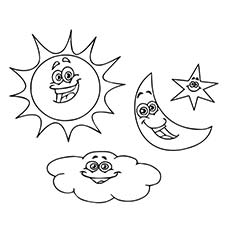 the sun moon stars and cloud - Sun And Moon Coloring Pages