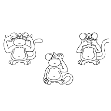 wise monkeys coloring pages - Monkey Coloring Page