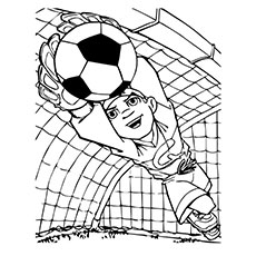 Goalkeeper Saves the Ball Coloring Pages