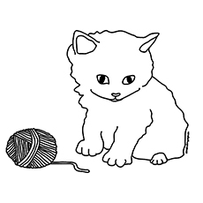 the a kitten playing with the barn - Kitty Coloring Pages