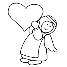 Coloring Worksheet Of Angel With A Heart