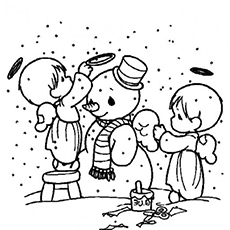 angels build a snowman color sheet - Snowman Coloring Page