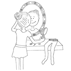 Ballerina Combing her Hair In front of Mirror Coloring Pages