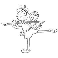 Ballerina dressed in Butterfly and Performing Coloring Pages
