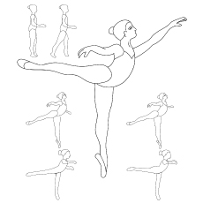 The ballet  positions coloringa page