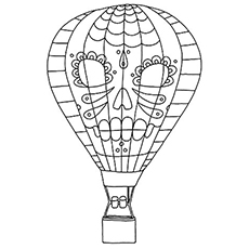 Hot Air Balloon With A Face Design Coloring Pages