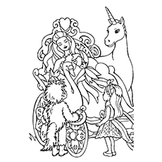 Printable Coloring Page of Princess Barbie And The Unicorn