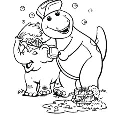 the barney with jumbo - Barney Dinosaur Coloring Pages