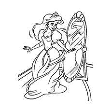 beautifully dressed princess in front of mirror coloring pages