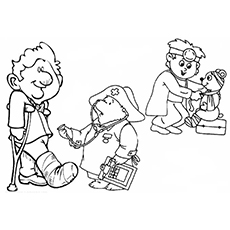 the boy and bear - Doctor Coloring Pages