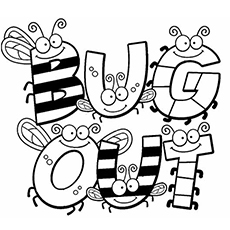 bugs spelling out bug world to color free - Insect Coloring Pages