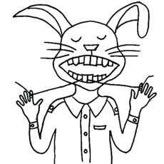 Bunny Flosses Tooth with Thread Coloring Page