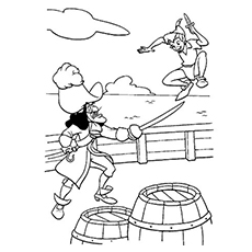 captain hook fighting with peter pan coloring pages - Peter Pan Mermaids Coloring Pages